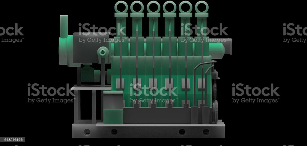 DIESEL MARINE ENGINE stock photo