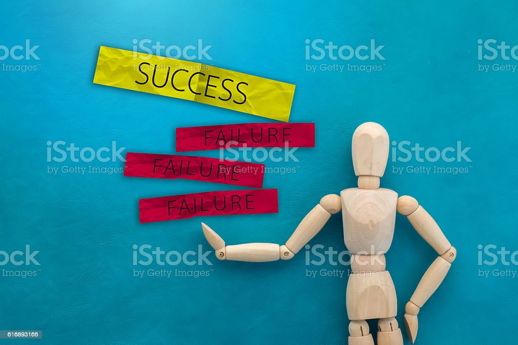 BUSINESS SUCCESS CONCEPT WITH SUCCESS AND FAILURE stock photo