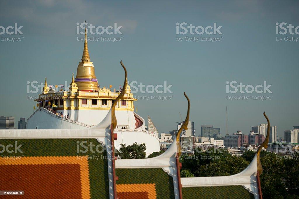 THAILAND BANGKOK WAT RATCHANATDARAM GOLDEN MOUNT stock photo