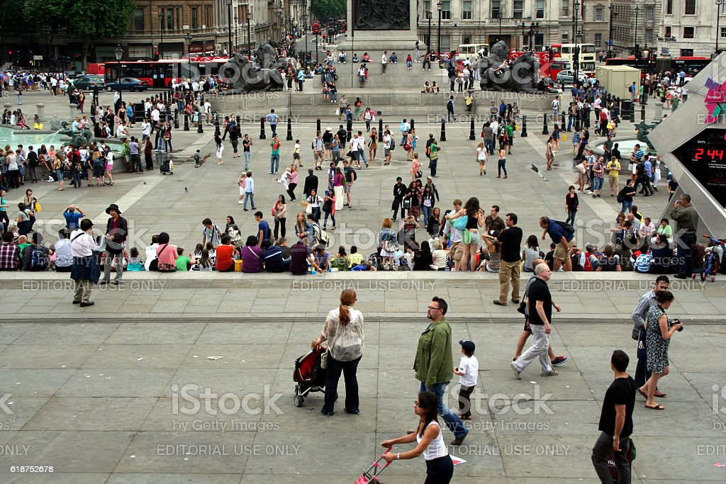 TRAFALGAR SQUARE ON A SUMMER DAY stock photo