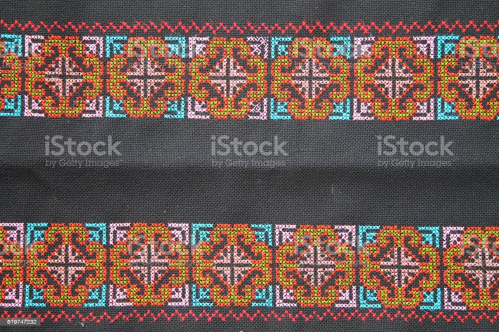 THE CLOTHES HAND MADE BY WOMAN MIEN HILL TRIBE. stock photo