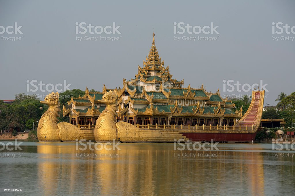 ASIA MYANMAR YANGON KANDAWGYI LAKE RESTAURANT KARAWEIK stock photo