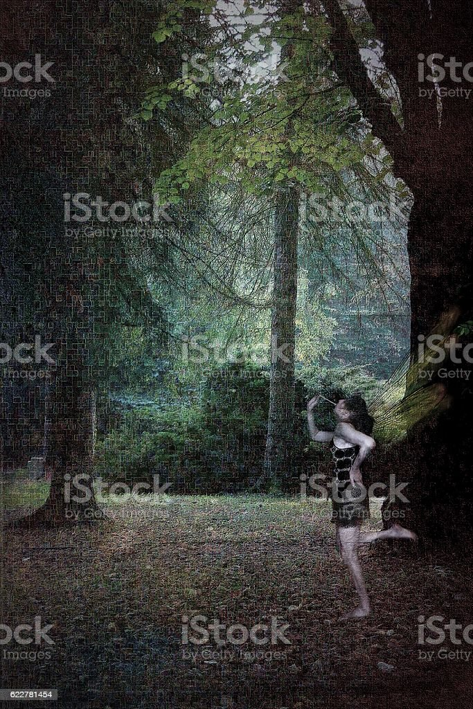 BREADSTICK FAIRY IN THE FOREST stock photo