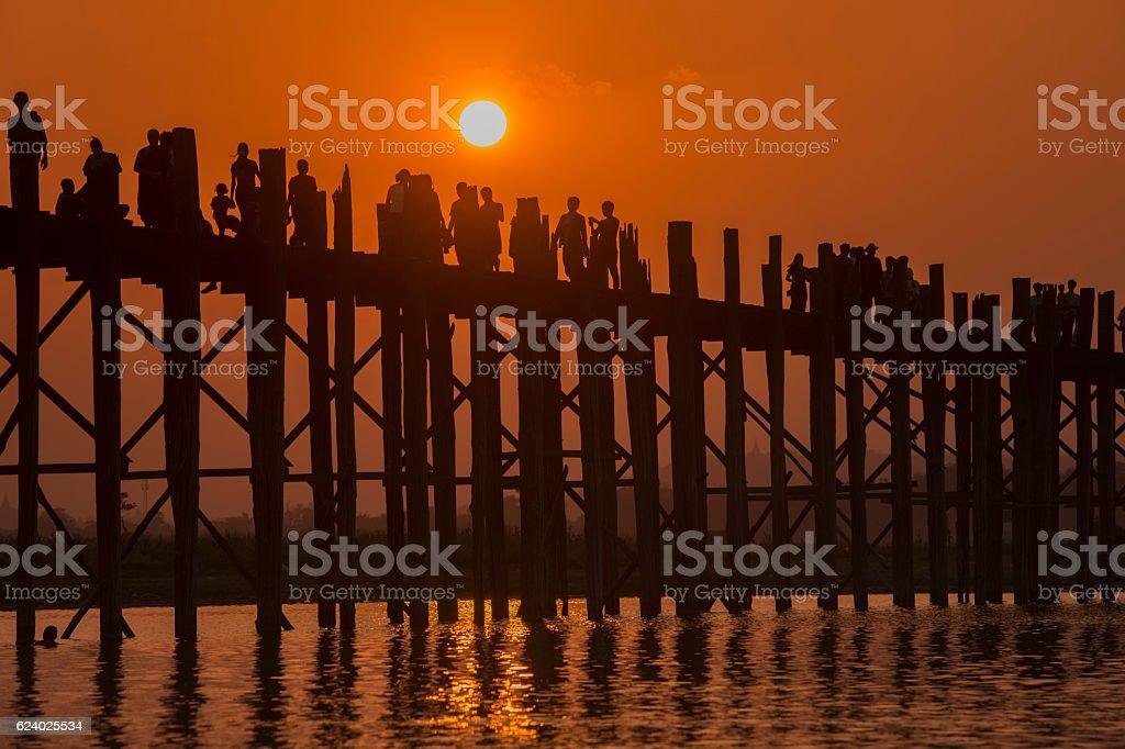 ASIA MYANMAR MANDALAY AMARAPURA U BEIN BRIDGE stock photo