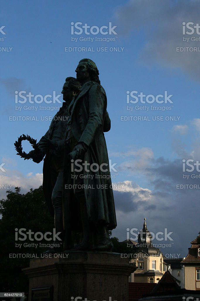 GOETHE AND SCHILLER BY SUNSET stock photo