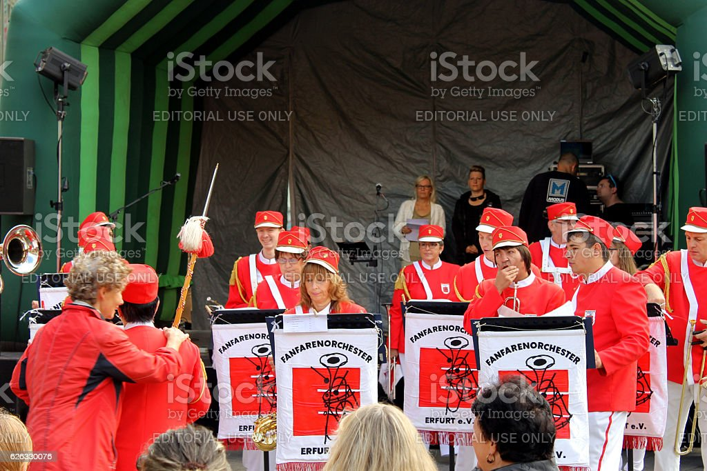 THE ERFURT BRASS BAND IN LOVELY RED UNIFORMS stock photo
