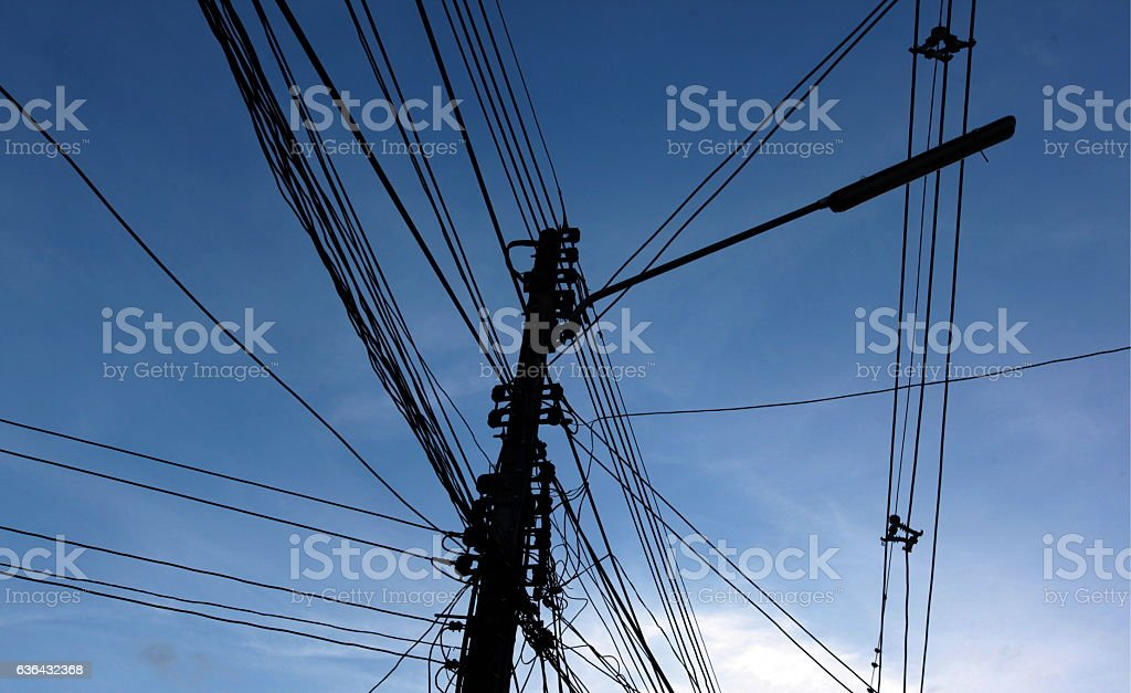 THAILAND CHIANG MAI POWER LINE stock photo