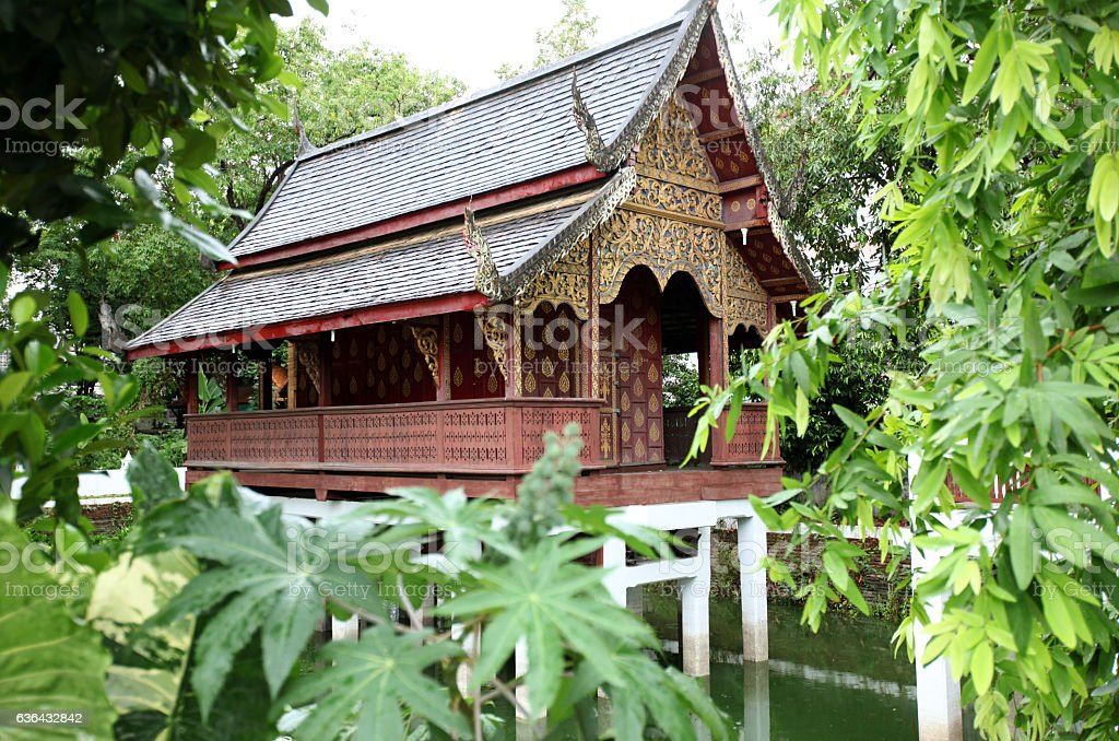 THAILAND CHIANG MAI WOOD HOUSE stock photo
