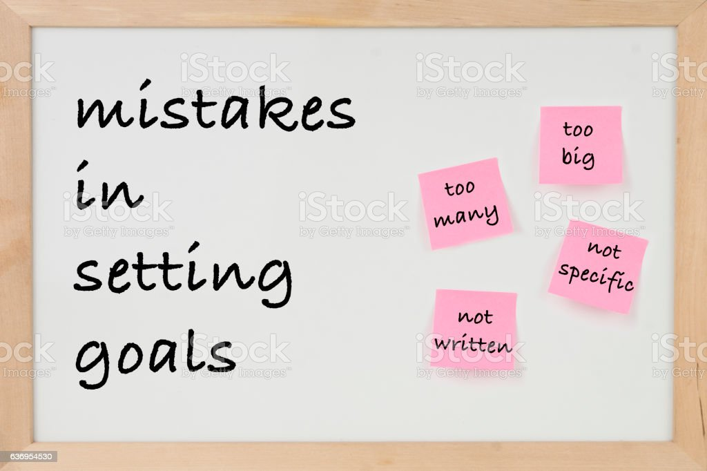 MISTAKES IN SETTING GOALS ON WHİTEBOARD stock photo