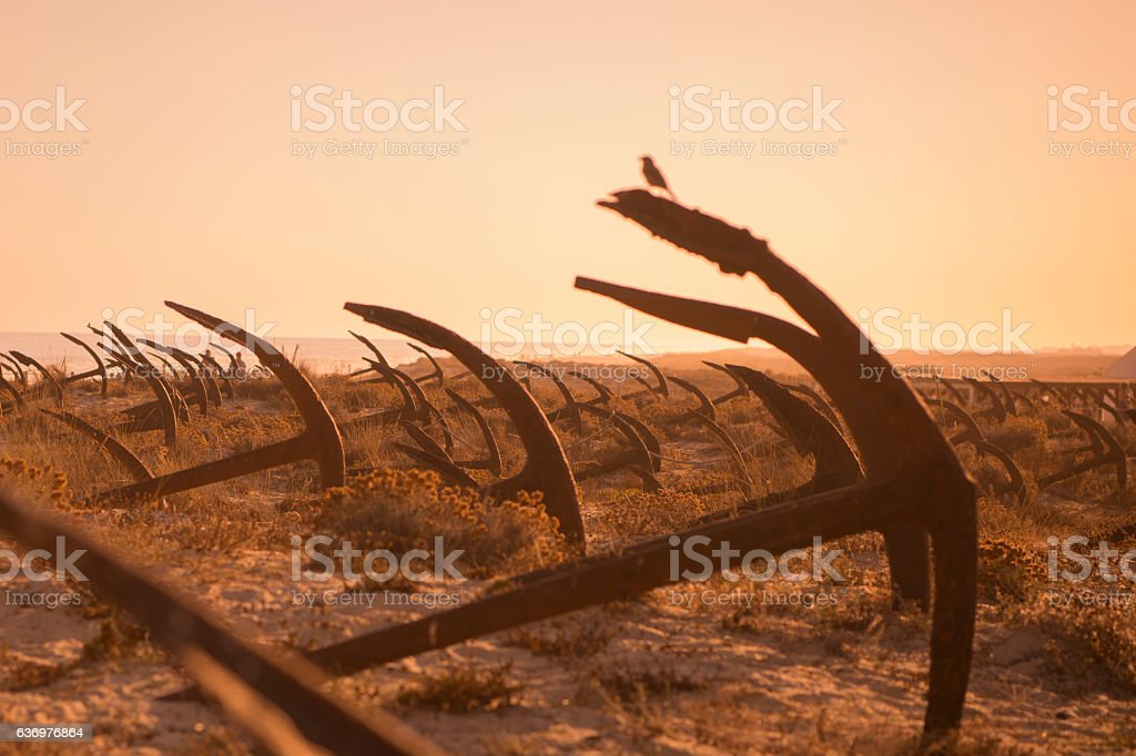 EUROPE PORTUGAL ALGARVE TAVIRA BARRIL BEACH ANCHOR stock photo