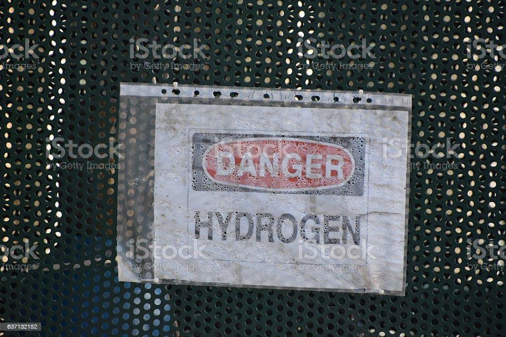DANGER HYDROGEN SIGN stock photo