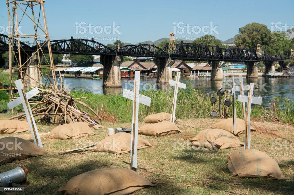 THAILAND KANCHANABURI DEATH RAILWAY BRIDGE RIVER KWAI stock photo