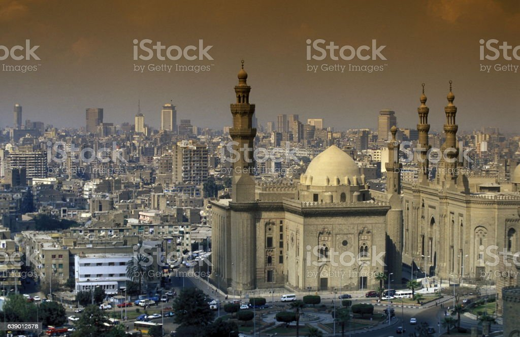 AFRICA EGYPT CAIRO OLD TOWN SULTAN HASSAN MOSQUE stock photo