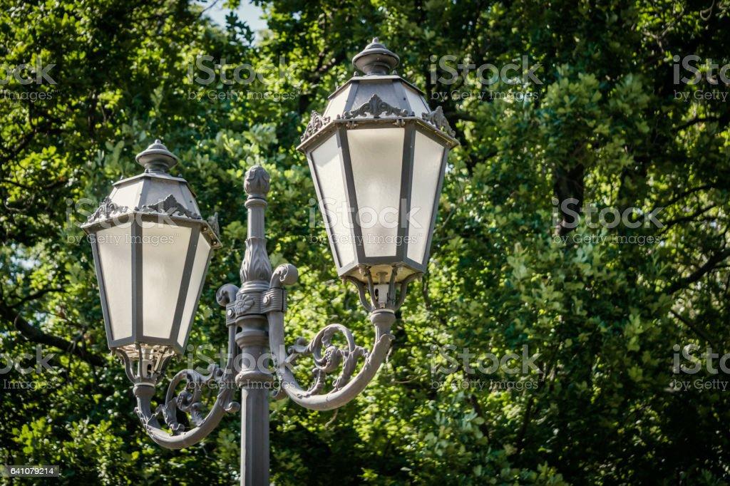 Винтажный парковый фонарь. Уличное освещение stock photo