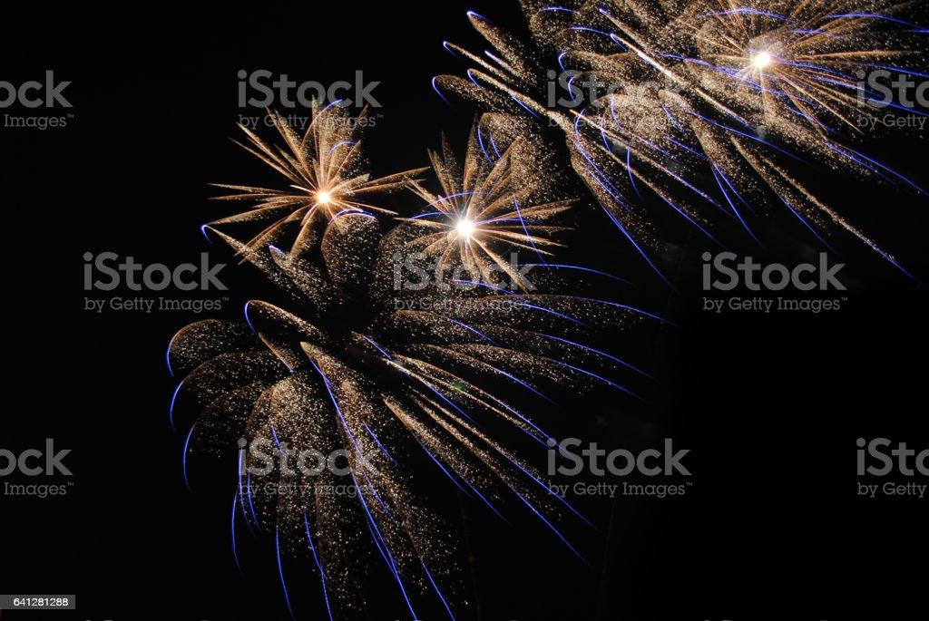 салют в ночном небе stock photo