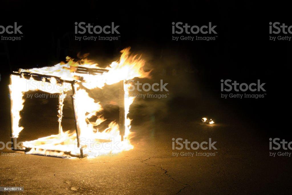 горящий куб stock photo