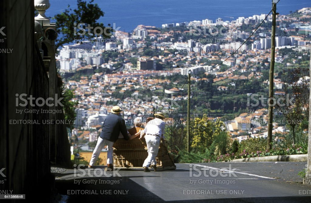 EUROPE PORTUGAL MADEIRA FUNCHAL BASKET SLEDGE stock photo