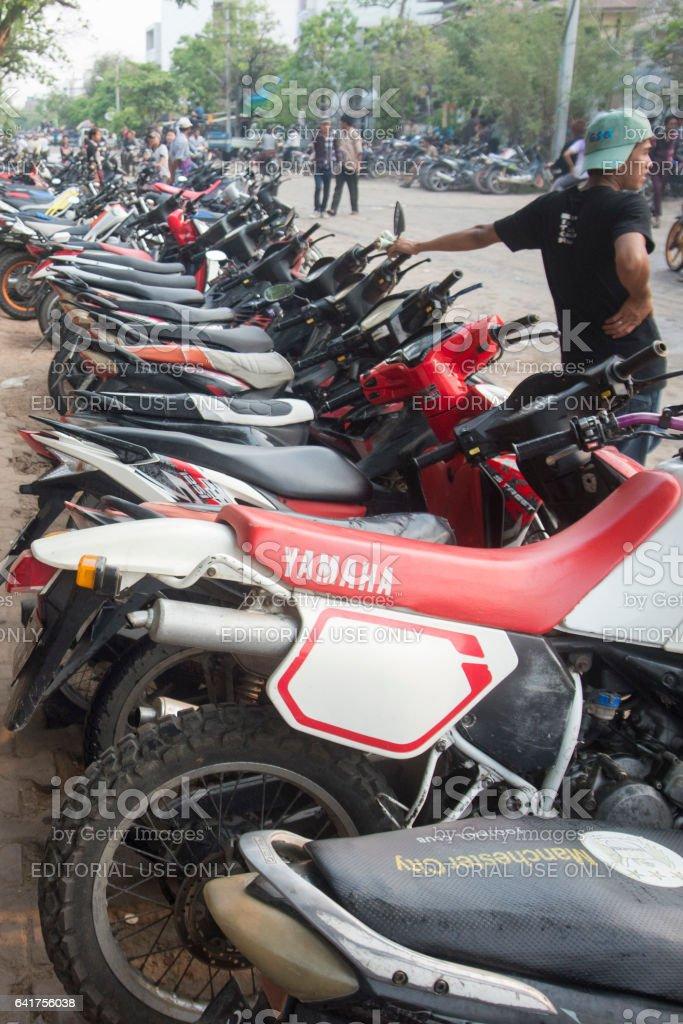 ASIA MYANMAR MANDALAY MOTOBIKE stock photo
