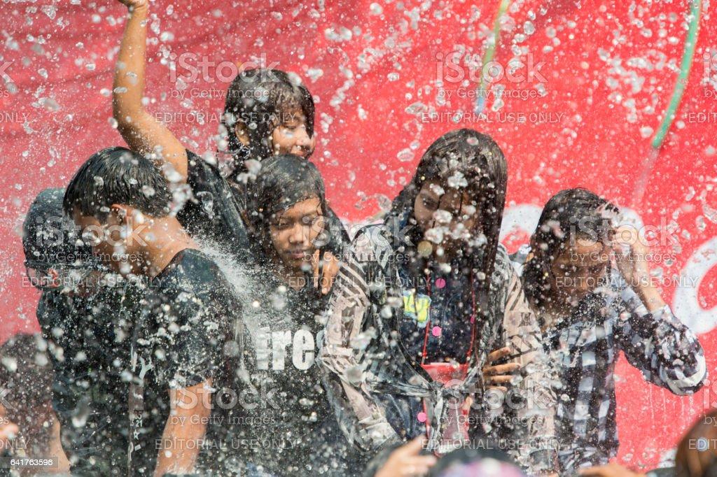 ASIA MYANMAR MANDALAY THINGYAN WATER FESTIVAL stock photo