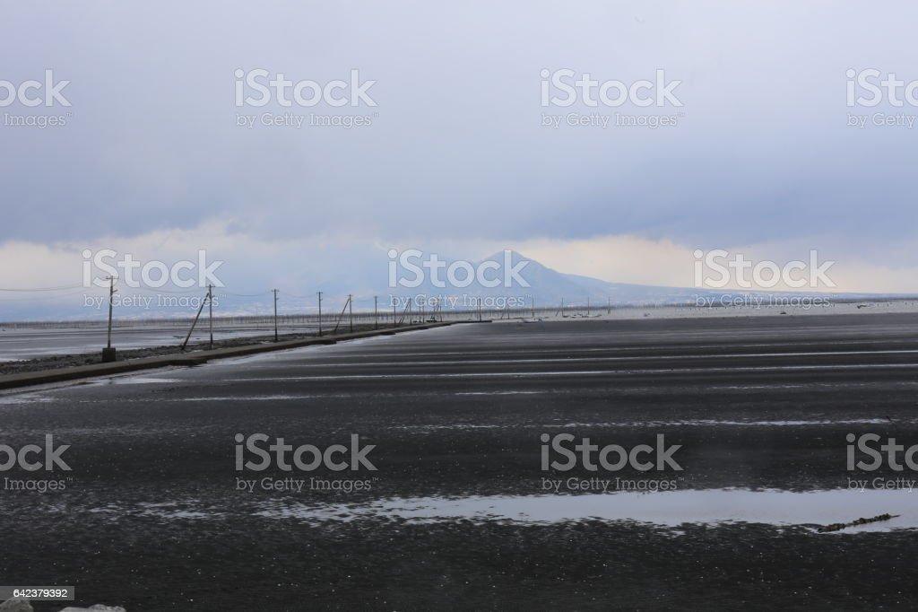 有明海の干潟と道 stock photo
