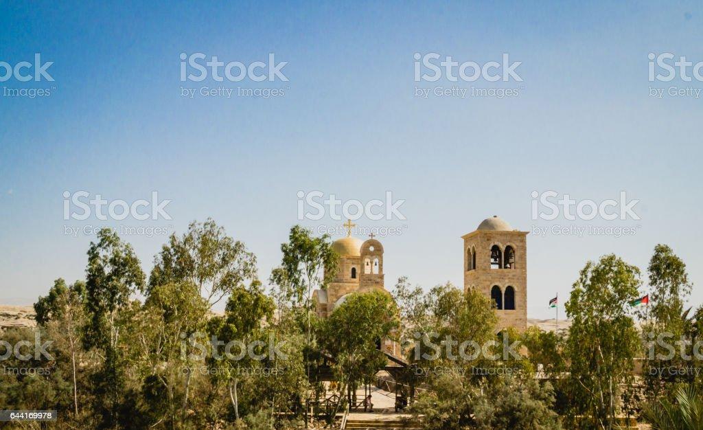 Священная река Иордан. Храм Вифании stock photo