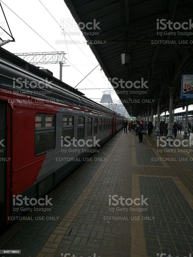Электричка прибыла на Ярославский вокзал stock photo