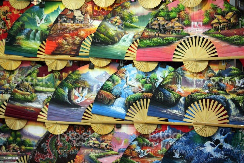 ASIA SINGAPORE CHINA TOWN HAND FAN stock photo