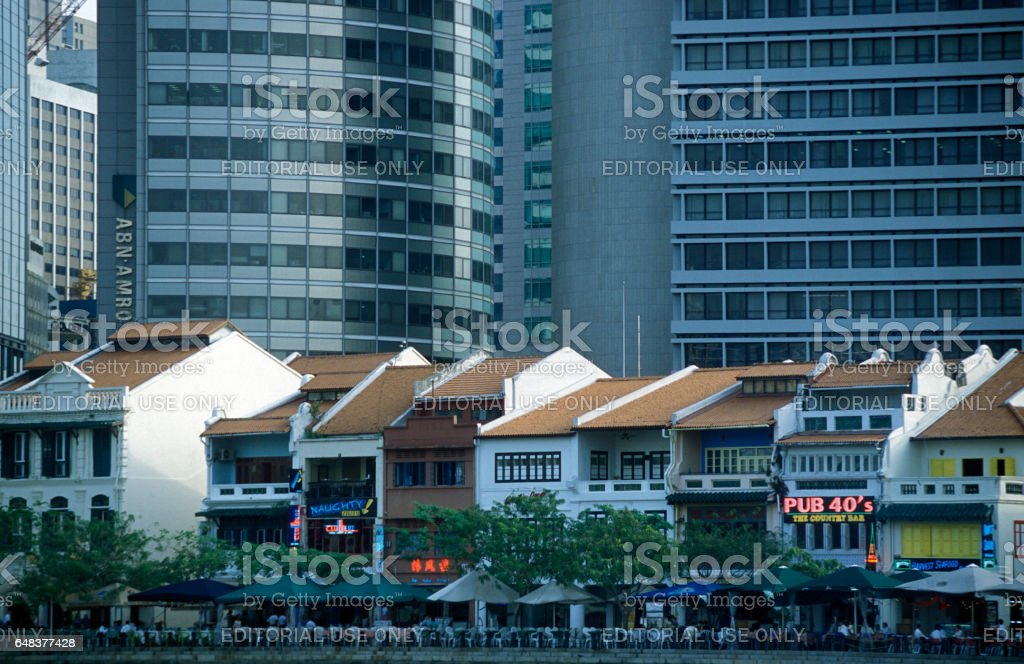 ASIA SINGAPORE CITY DOWN TOWN BOAT QUAY stock photo
