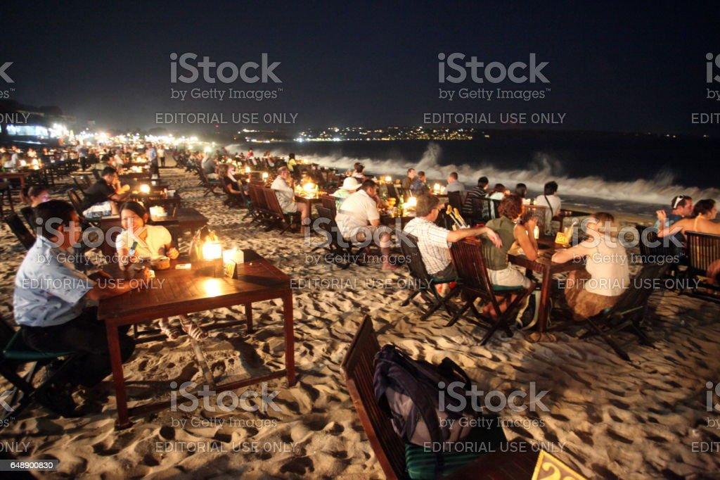 ASIA INDONESIA BALI BEACH NUSA DUA SEEAFOOD RESTAURANT stock photo
