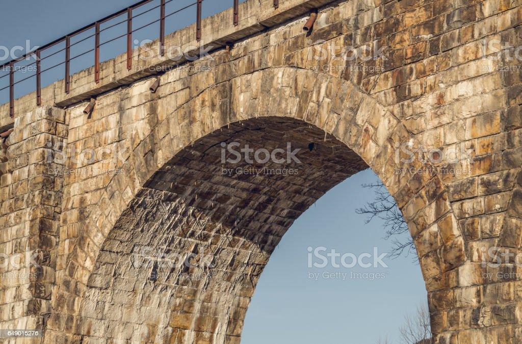 Старая архитектура Европы. Железнодорожный мост stock photo