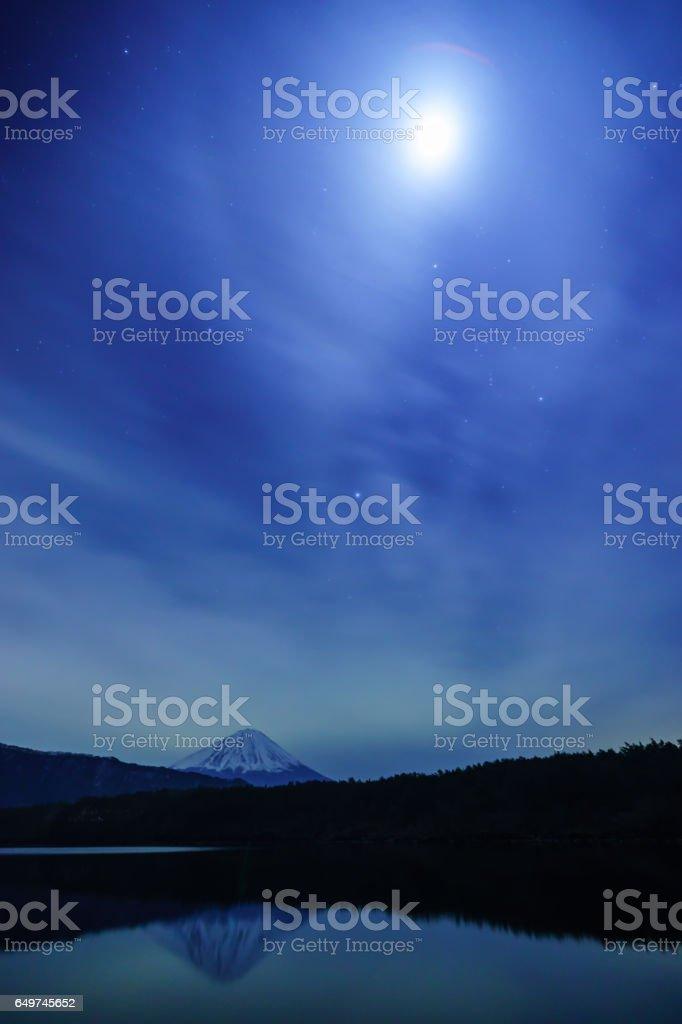 月と富士山とオリオン座 stock photo