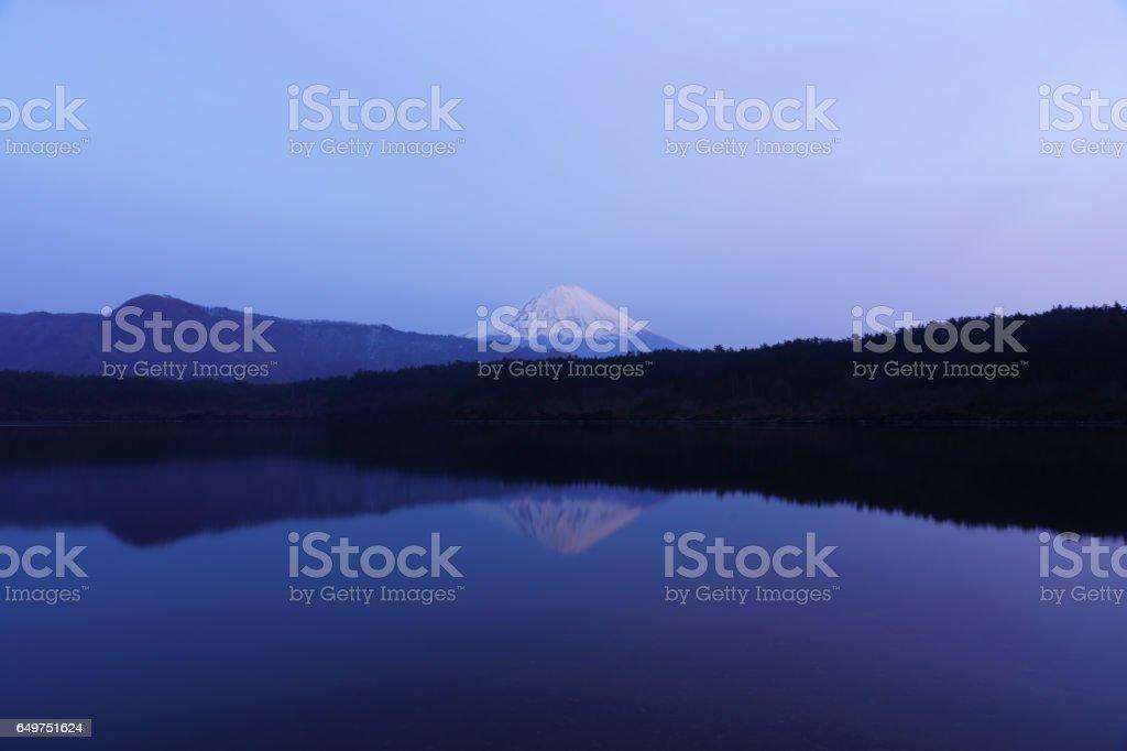 西湖に映る逆さ富士 stock photo
