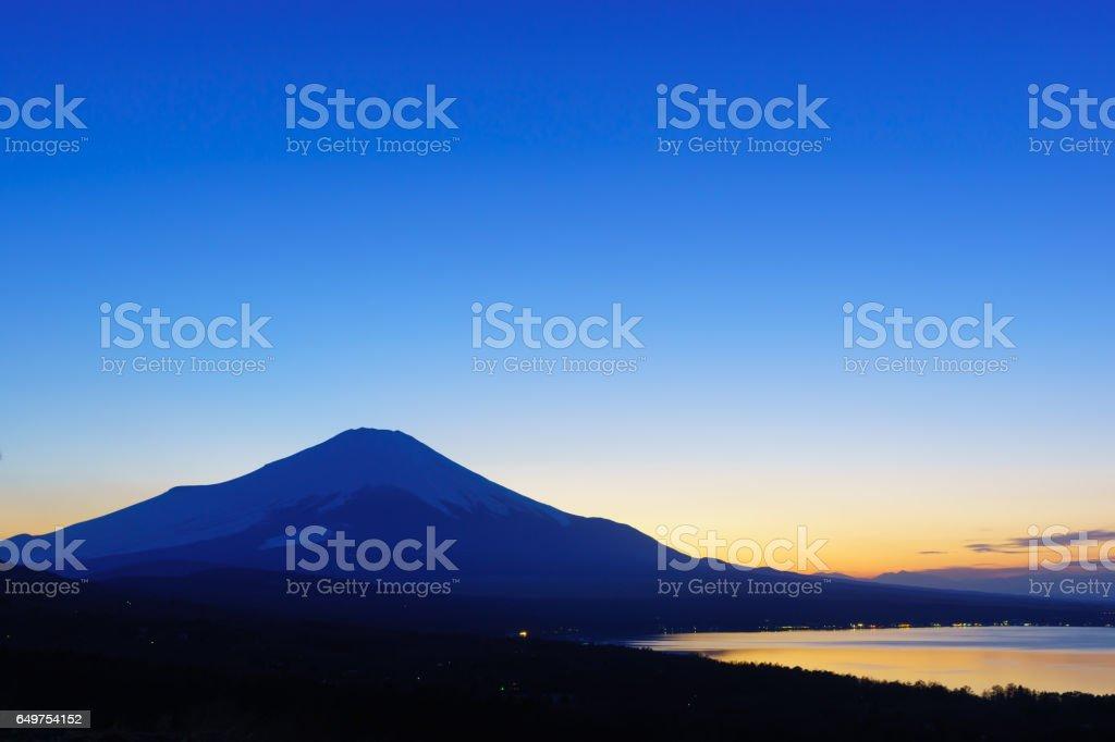 パノラマ台より望む富士山夕景 stock photo
