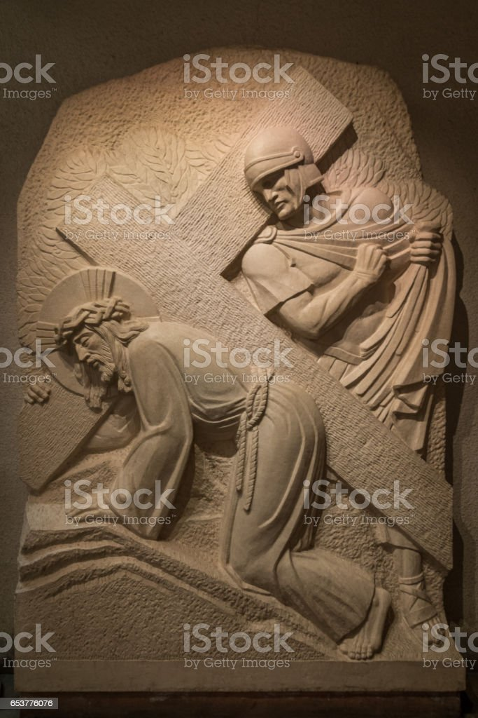 STONE SCULPTURE IN SAINT JOSEPH'S ORATORY CHAPEL stock photo