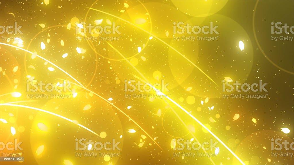 光の曲線と桜花びら stock photo
