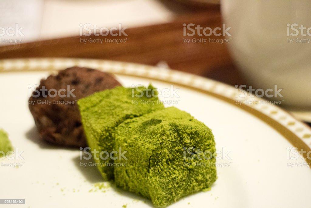 抹茶わらび餅 stock photo