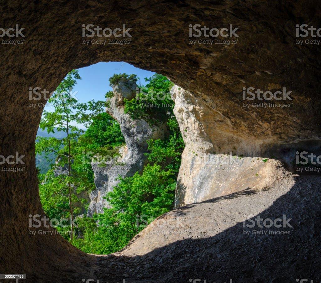 Панорама.Вид на кавказские горы из пещеры на вершине горы, Адыгея, Россия, 23 регион Краснодар stock photo