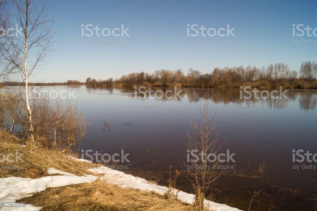 Весенний пейзаж с рекой stock photo