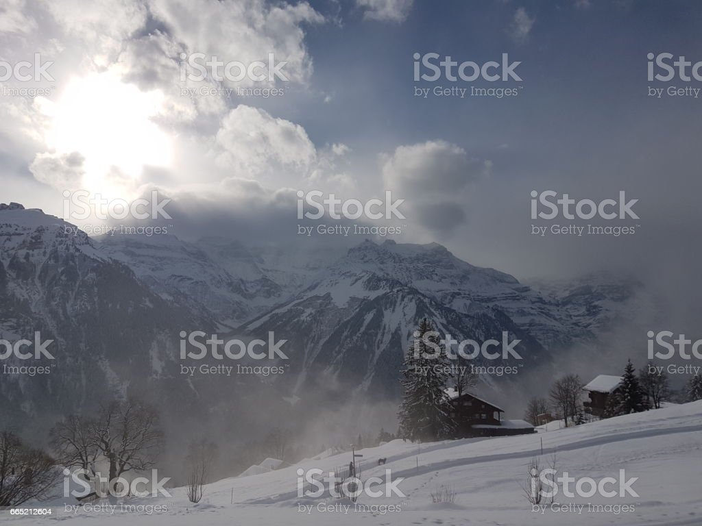 VIEW AT CHALET HOTEL AHORN stock photo