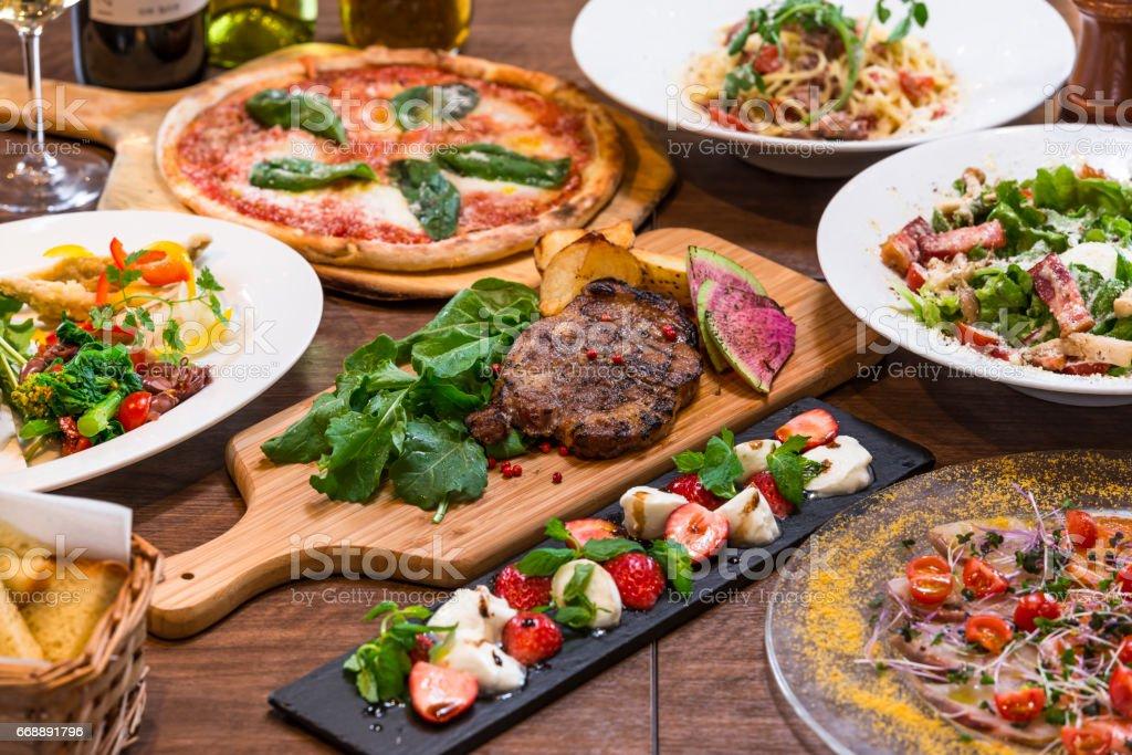 イタリアンレストランのコース料理 stock photo