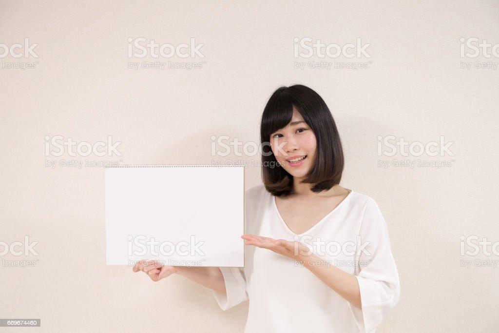 笑顔の女性 ホワイトボード stock photo