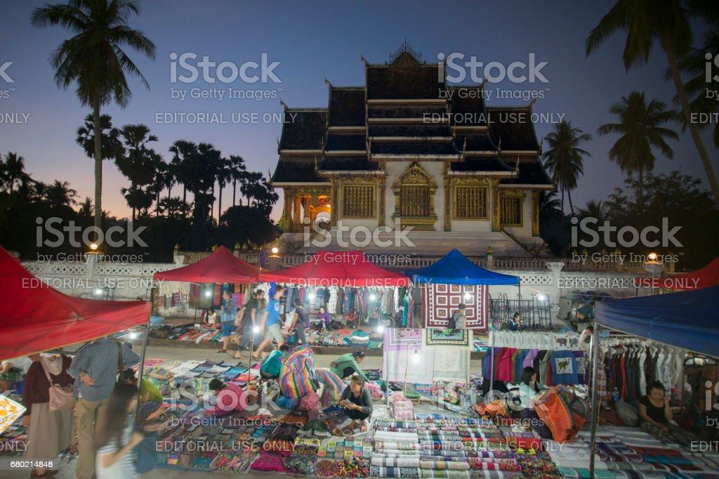 LAOS LUANG PRABANG NIGHTMARKET PALACE TEMPLE stock photo