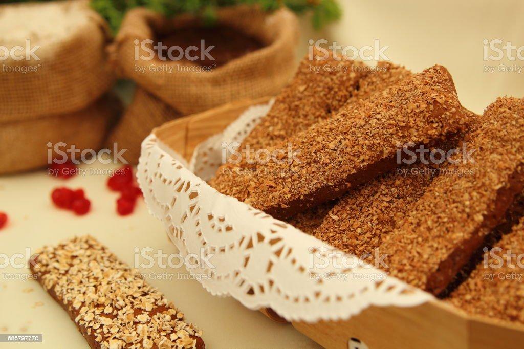 хлебцы с отрубями stock photo