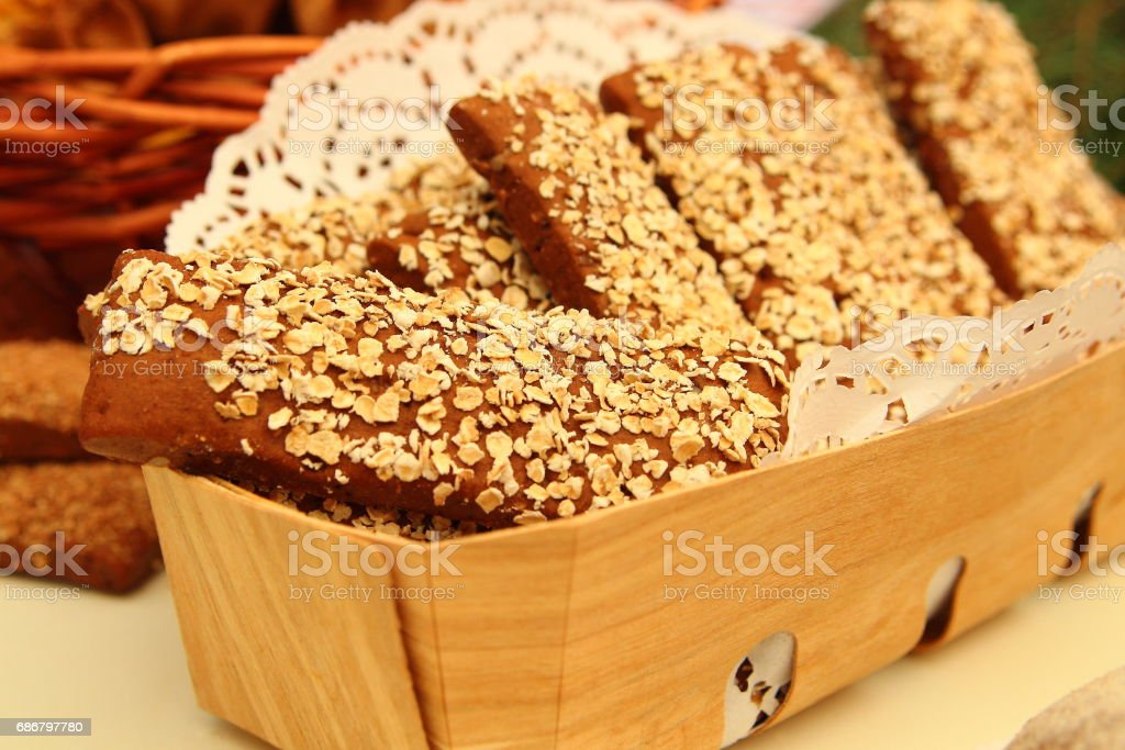 хлебцы с овсяными хлопьями stock photo