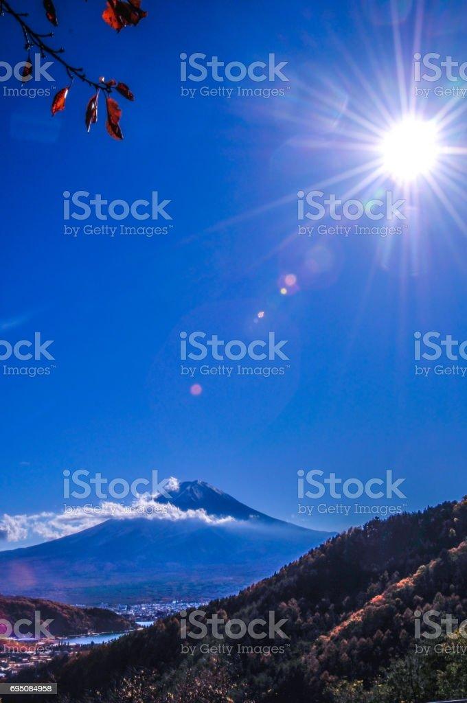 日本 世界遺産 富士山 御坂峠の秋 stock photo