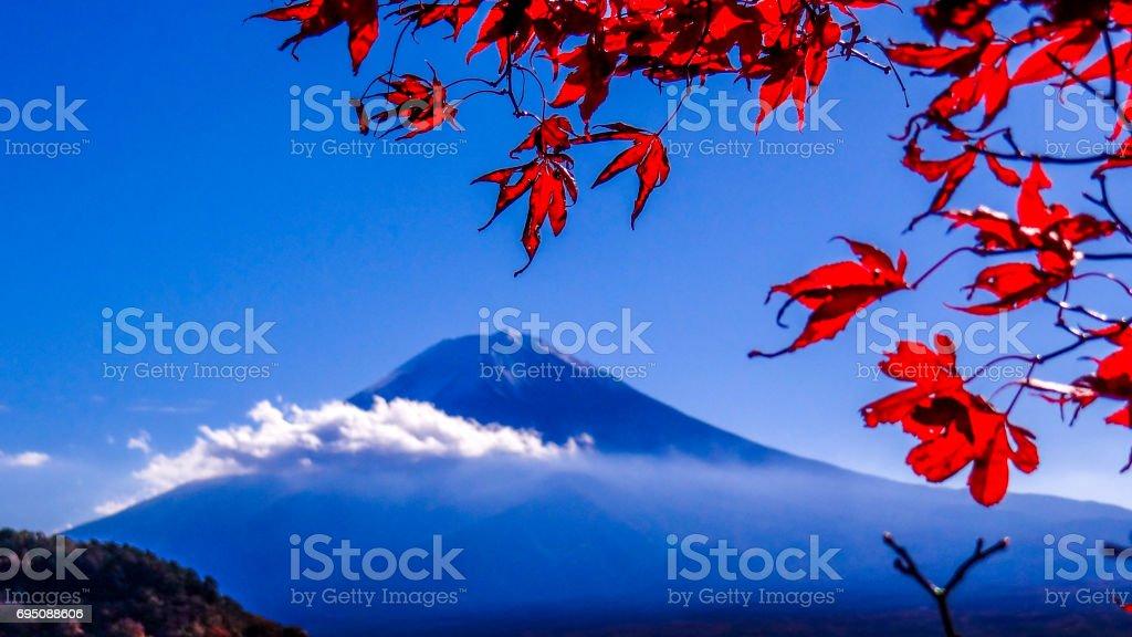 日本 世界遺産 紅葉と富士山 河口湖 stock photo
