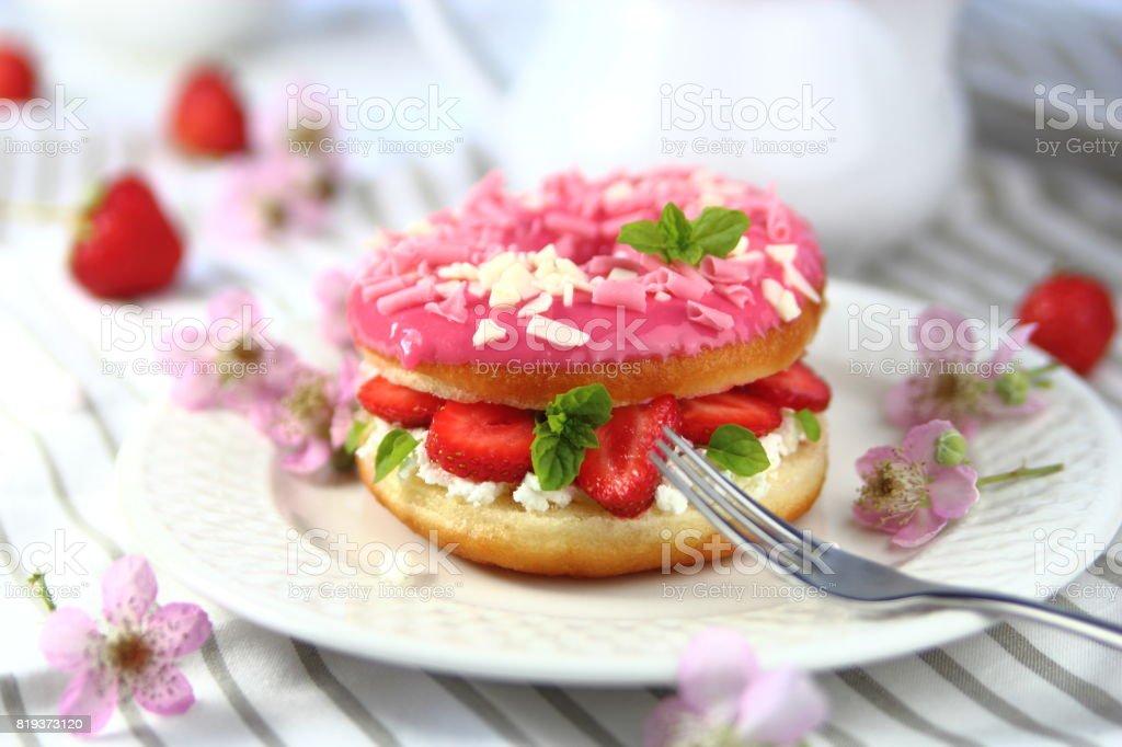 пончик с начинкой stock photo