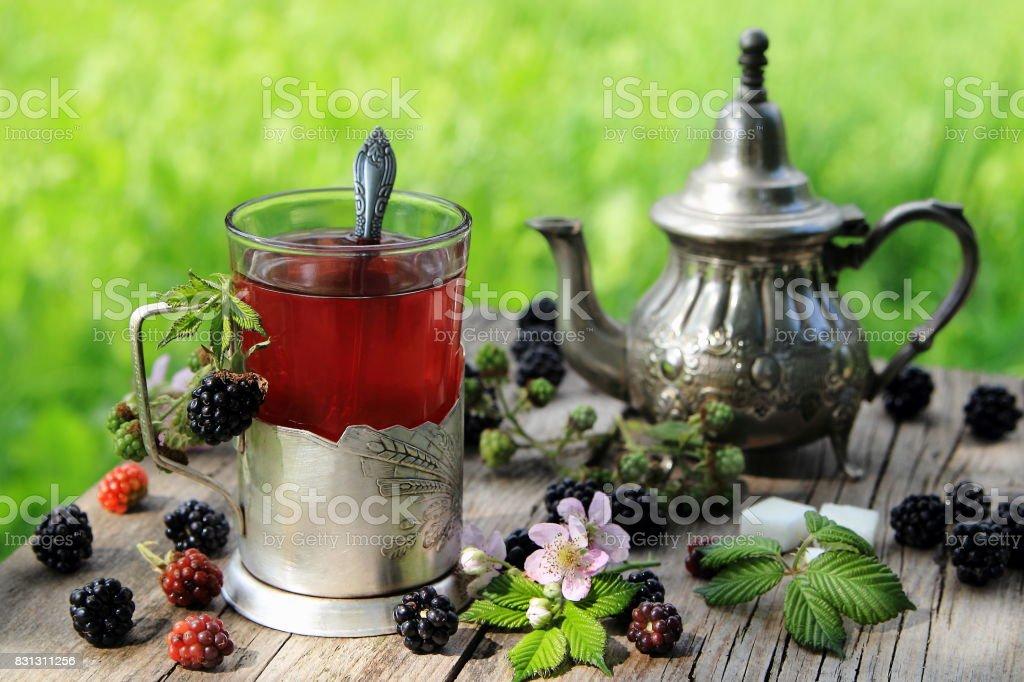 чай из ежевики stock photo
