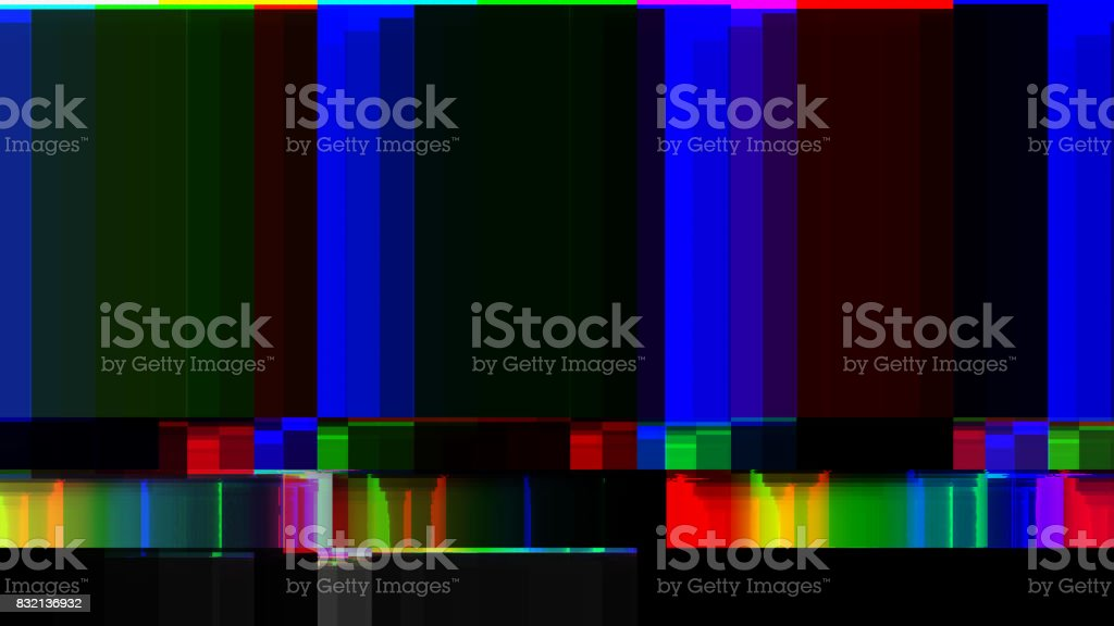 GLITCH! BAD INTERFERENCE FOR TV DIGITAL COLOUR BARS TEST PATTERN stock photo
