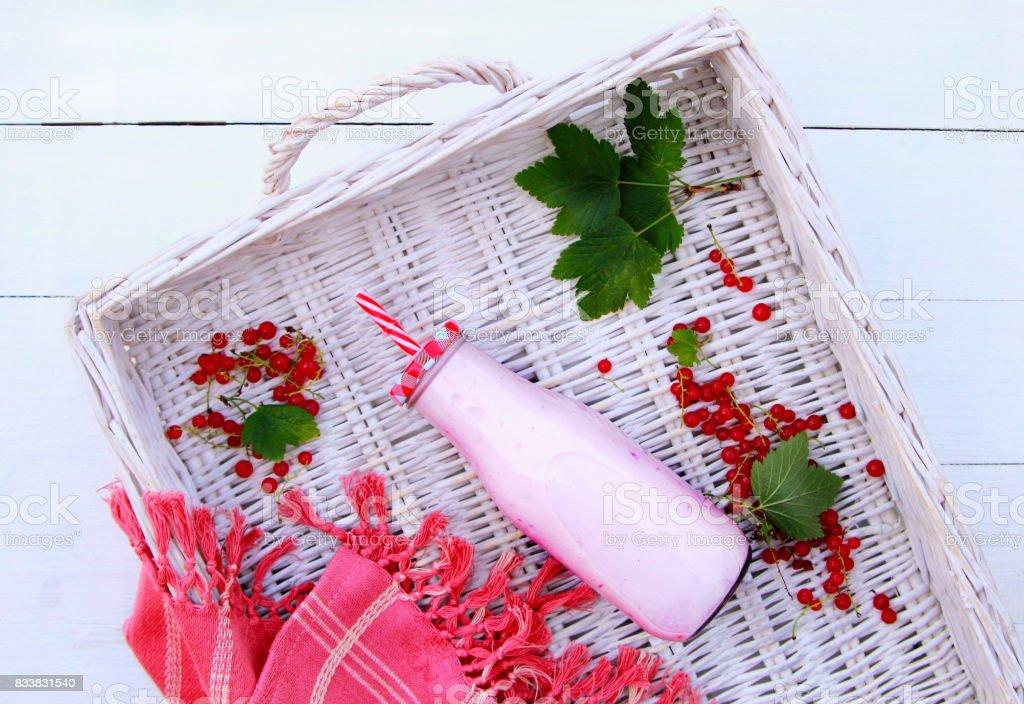 молочный коктейль с красной смородиной stock photo